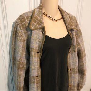 NWT iCe 100% Wool Plaid Sweater Coat Jacket size L